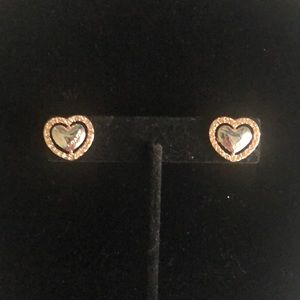 Coach Halo Heart Shaped Pave Stud Earring Rosegold
